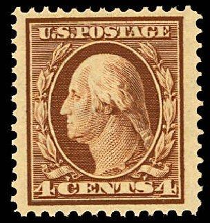 US Stamps Values Scott # 334 - 4c 1908 Washington. Daniel Kelleher Auctions, Dec 2012, Sale 633, Lot 586