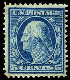 Costs of US Stamp Scott Catalog 335 - 1908 5c Washington. Daniel Kelleher Auctions, Dec 2012, Sale 633, Lot 607