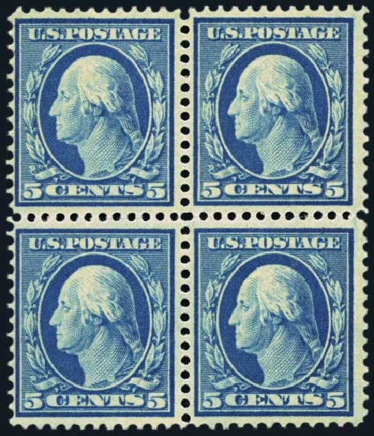US Stamp Values Scott Catalog #335 - 5c 1908 Washington. Harmer-Schau Auction Galleries, Jan 2014, Sale 100, Lot 568
