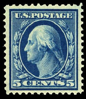 US Stamps Price Scott Catalog 335 - 5c 1908 Washington. Daniel Kelleher Auctions, Dec 2012, Sale 633, Lot 588