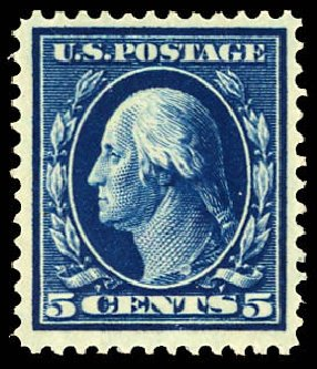 US Stamp Value Scott Cat. #335: 5c 1908 Washington. Daniel Kelleher Auctions, Dec 2012, Sale 633, Lot 589