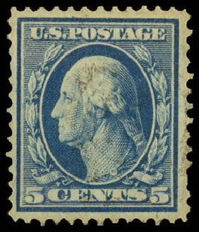 Prices of US Stamps Scott Cat. #335 - 5c 1908 Washington. Daniel Kelleher Auctions, May 2014, Sale 652, Lot 499