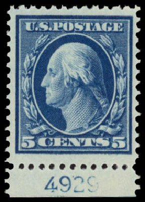 US Stamps Values Scott Catalog 335 - 5c 1908 Washington. Daniel Kelleher Auctions, May 2015, Sale 669, Lot 2885