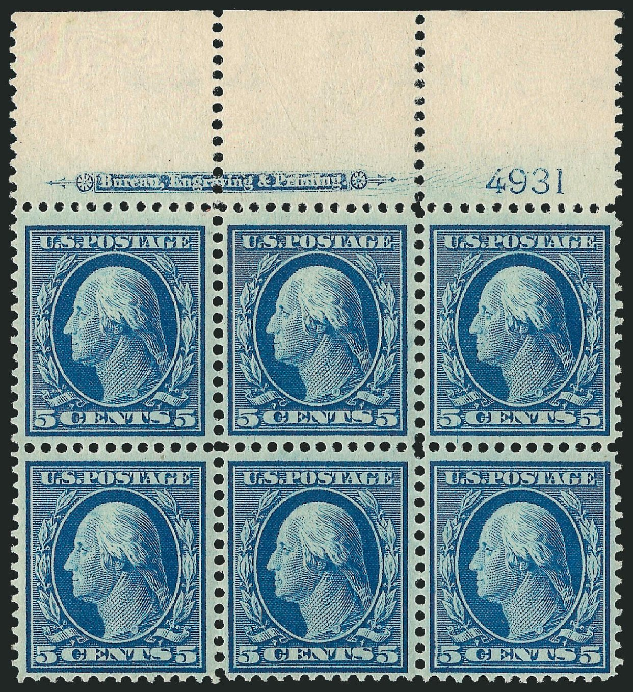US Stamps Value Scott Cat. # 335: 5c 1908 Washington. Robert Siegel Auction Galleries, Sep 2014, Sale 1078, Lot 472