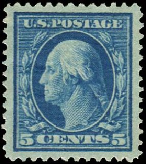 US Stamps Value Scott Catalogue # 335: 1908 5c Washington. Regency-Superior, Nov 2014, Sale 108, Lot 716