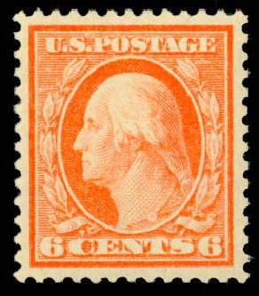 US Stamp Values Scott Cat. #336: 6c 1909 Washington. Daniel Kelleher Auctions, Oct 2014, Sale 660, Lot 2338