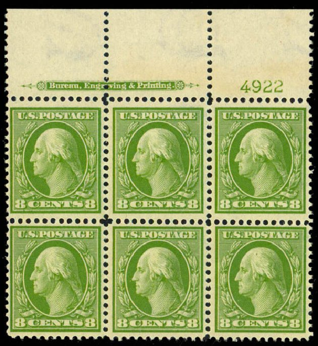 US Stamps Price Scott #337: 1908 8c Washington. Daniel Kelleher Auctions, Sep 2013, Sale 639, Lot 3445