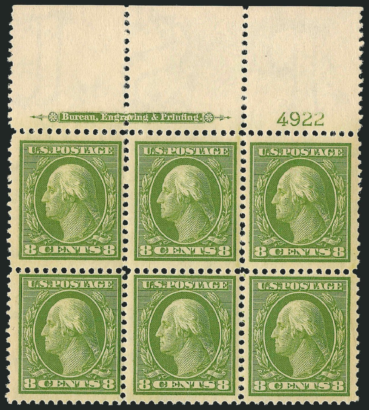 Price of US Stamp Scott Catalog 337 - 8c 1908 Washington. Robert Siegel Auction Galleries, Sep 2014, Sale 1078, Lot 473