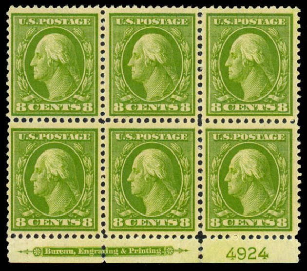 US Stamps Values Scott Catalogue # 337 - 1908 8c Washington. Daniel Kelleher Auctions, Sep 2013, Sale 639, Lot 3446