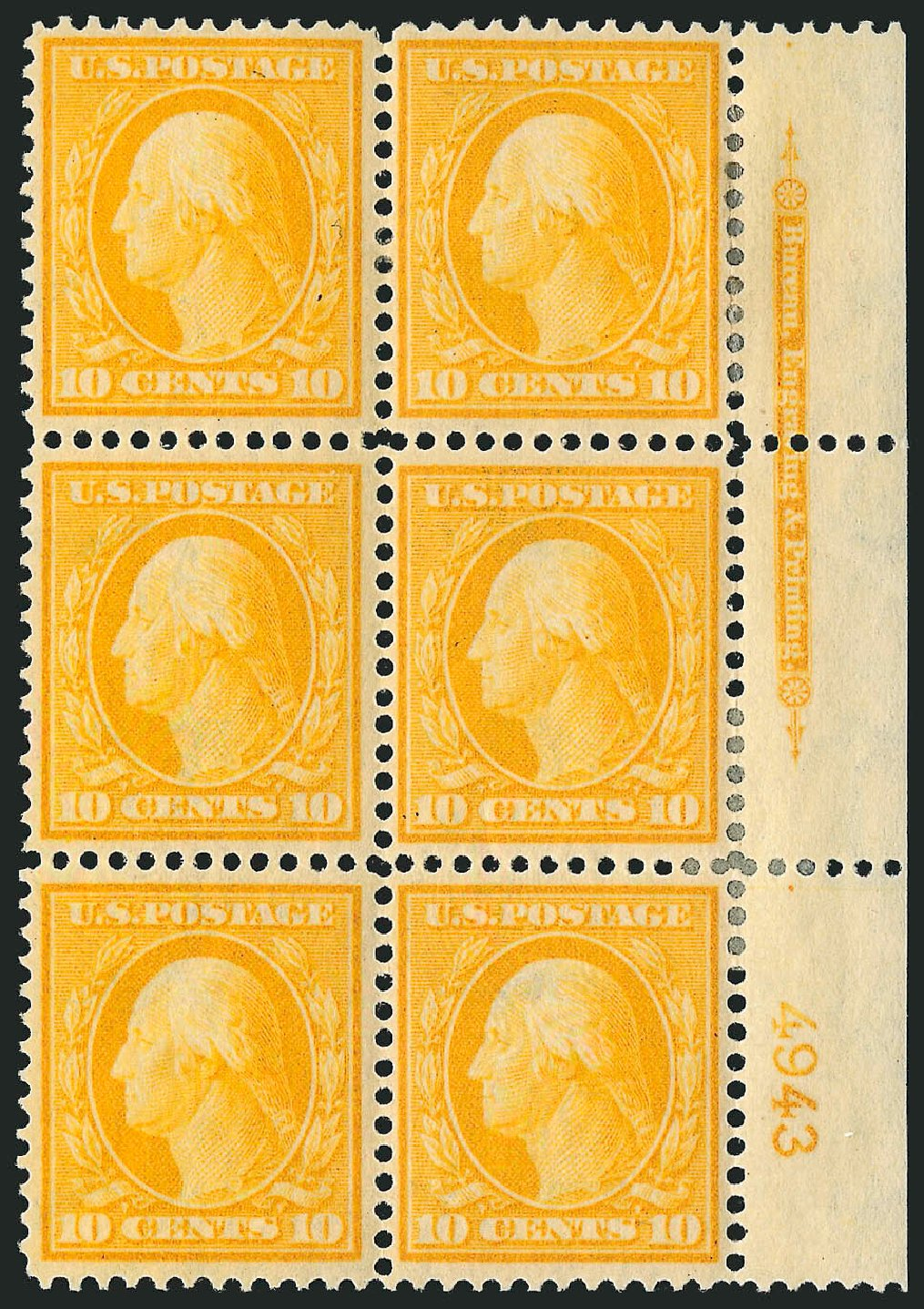Prices of US Stamp Scott # 338: 1909 10c Washington. Robert Siegel Auction Galleries, Apr 2015, Sale 1096, Lot 571