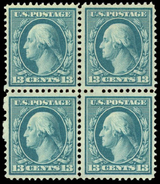 Values of US Stamp Scott Catalogue # 339: 13c 1909 Washington. Daniel Kelleher Auctions, Aug 2015, Sale 672, Lot 2648