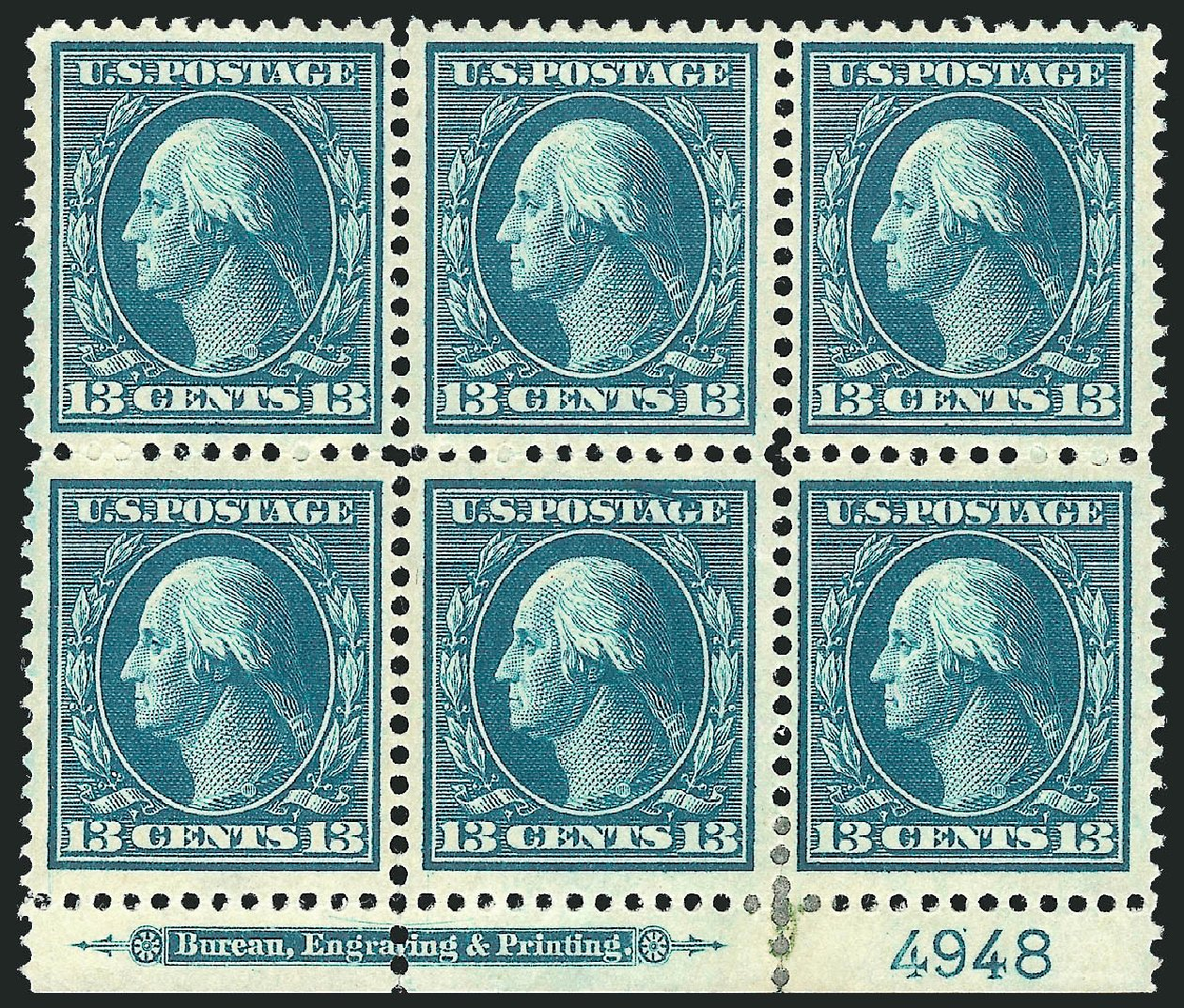 US Stamp Value Scott Catalogue #339: 1909 13c Washington. Robert Siegel Auction Galleries, Feb 2015, Sale 1093, Lot 91
