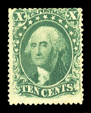 US Stamps Values Scott 34: 10c 1857 Washington. Cherrystone Auctions, Jul 2015, Sale 201507, Lot 2028