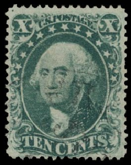 US Stamp Value Scott Catalog 34 - 1857 10c Washington. Daniel Kelleher Auctions, May 2015, Sale 669, Lot 2465