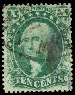 US Stamp Price Scott Cat. #34 - 10c 1857 Washington. Daniel Kelleher Auctions, Aug 2015, Sale 672, Lot 2212