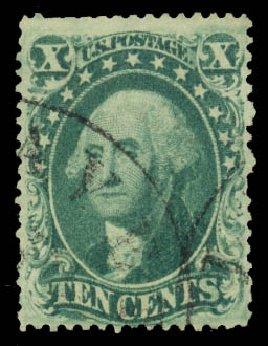 Value of US Stamp Scott Cat. # 34: 1857 10c Washington. Daniel Kelleher Auctions, Jan 2015, Sale 663, Lot 1263