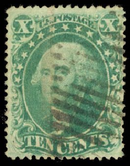 US Stamp Values Scott Cat. # 34: 10c 1857 Washington. Daniel Kelleher Auctions, Aug 2015, Sale 672, Lot 2213
