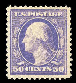 Values of US Stamp Scott Cat. # 341 - 50c 1909 Washington. Cherrystone Auctions, Mar 2015, Sale 201503, Lot 47