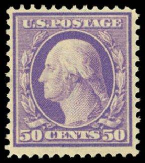 US Stamps Value Scott Cat. 341: 50c 1909 Washington. Daniel Kelleher Auctions, Dec 2014, Sale 661, Lot 297
