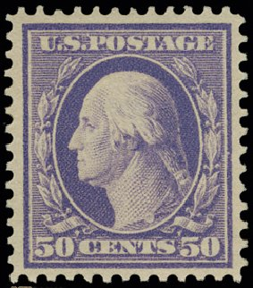 Price of US Stamps Scott Cat. 341: 50c 1909 Washington. H.R. Harmer, May 2014, Sale 3005, Lot 1248