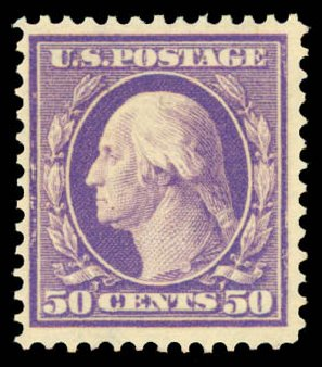 Prices of US Stamp Scott Cat. 341: 1909 50c Washington. Daniel Kelleher Auctions, May 2015, Sale 669, Lot 2888