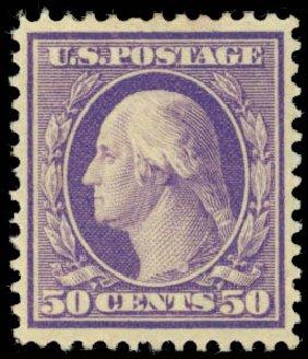 US Stamps Prices Scott # 341 - 50c 1909 Washington. Daniel Kelleher Auctions, Jan 2015, Sale 663, Lot 1689