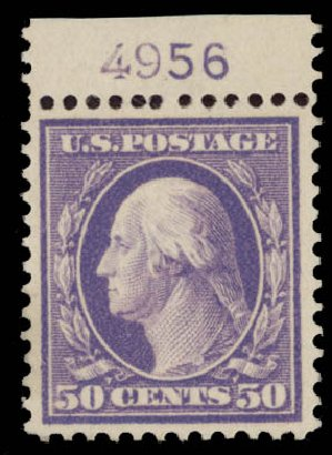 Cost of US Stamps Scott Catalogue 341 - 1909 50c Washington. Daniel Kelleher Auctions, May 2015, Sale 669, Lot 2889