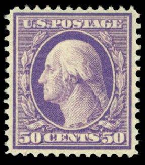 Value of US Stamps Scott #341: 50c 1909 Washington. Daniel Kelleher Auctions, May 2015, Sale 669, Lot 2890