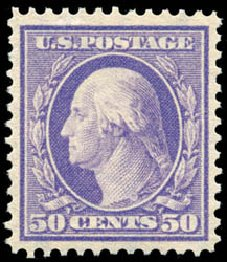 Cost of US Stamps Scott Cat. 341: 1909 50c Washington. Schuyler J. Rumsey Philatelic Auctions, Apr 2015, Sale 60, Lot 2333
