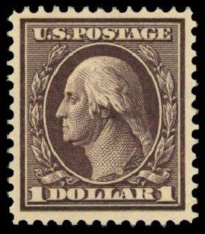 US Stamp Prices Scott #342 - 1909 US$1.00 Washington. Daniel Kelleher Auctions, Dec 2014, Sale 661, Lot 298