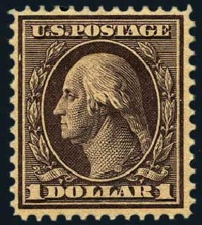US Stamps Price Scott #342: US$1.00 1909 Washington. Harmer-Schau Auction Galleries, May 2015, Sale 105, Lot 159