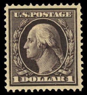 US Stamps Prices Scott Cat. #342 - US$1.00 1909 Washington. Daniel Kelleher Auctions, Oct 2014, Sale 660, Lot 2340