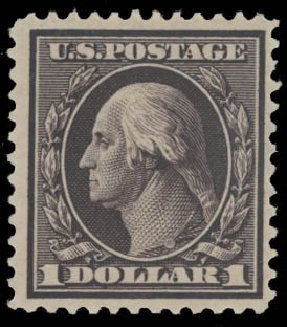 Cost of US Stamp Scott #342 - US$1.00 1909 Washington. Daniel Kelleher Auctions, Aug 2015, Sale 672, Lot 2650