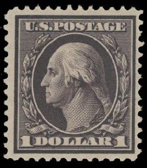 Cost of US Stamp Scott #342 - US$1.00 1909 Washington. Daniel Kelleher Auctions, Aug 2015, Sale 672, Lot 2650
