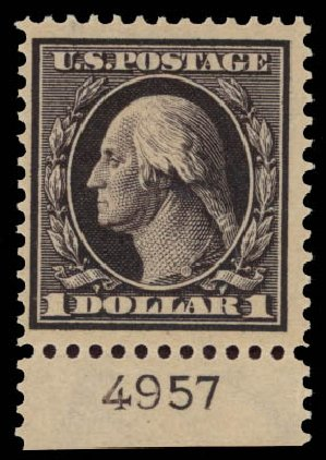US Stamps Price Scott 342 - US$1.00 1909 Washington. Daniel Kelleher Auctions, May 2015, Sale 669, Lot 2891