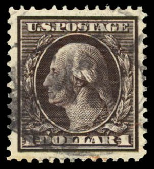 US Stamps Price Scott Catalog # 342 - US$1.00 1909 Washington. Daniel Kelleher Auctions, Aug 2015, Sale 672, Lot 2651