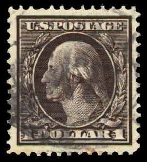 US Stamps Price Scott Catalog # 342 - US$1.00 1909 Washington. Daniel Kelleher Auctions, Aug 2015, Sale 672, Lot 2651