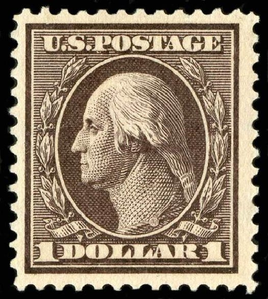 US Stamps Value Scott 342: 1909 US$1.00 Washington. Spink Shreves Galleries, Jul 2015, Sale 151, Lot 261