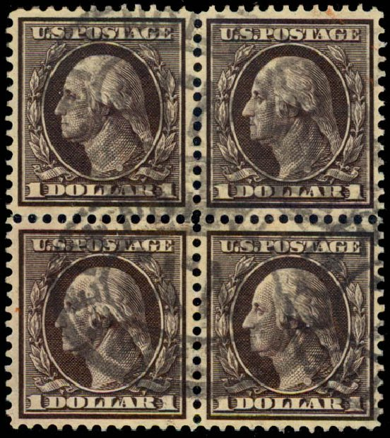 US Stamps Price Scott 342 - 1909 US$1.00 Washington. Daniel Kelleher Auctions, May 2015, Sale 669, Lot 2894