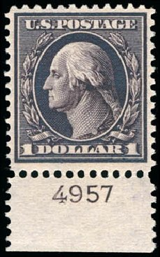 Prices of US Stamp Scott Catalogue 342: 1909 US$1.00 Washington. Schuyler J. Rumsey Philatelic Auctions, Apr 2015, Sale 60, Lot 2795