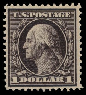 US Stamps Prices Scott Catalog #342 - 1909 US$1.00 Washington. Daniel Kelleher Auctions, May 2015, Sale 669, Lot 2892