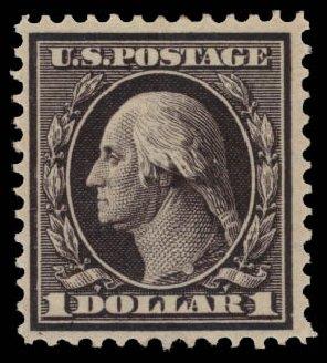 US Stamps Prices Scott Catalog #342 - 1909 US$1.00 Washington. Daniel Kelleher Auctions, May 2015, Sale 669, Lot 2892