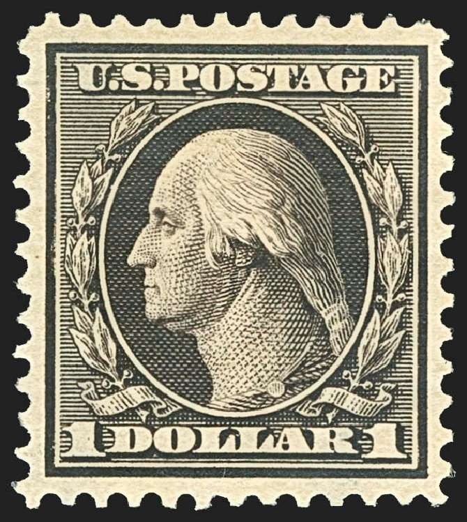 US Stamps Prices Scott Catalogue 342 - 1909 US$1.00 Washington. Robert Siegel Auction Galleries, Jul 2015, Sale 1107, Lot 422