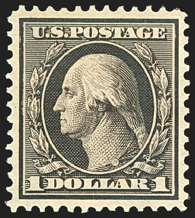 US Stamps Prices Scott Catalogue 342 - 1909 US$1.00 Washington. Robert Siegel Auction Galleries, Jul 2015, Sale 1107, Lot 422