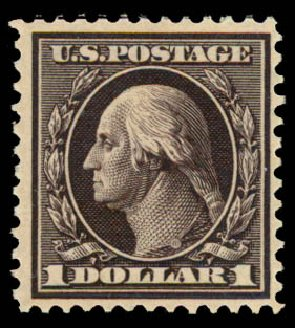 Value of US Stamp Scott Catalogue # 342 - 1909 US$1.00 Washington. Daniel Kelleher Auctions, May 2015, Sale 669, Lot 2893