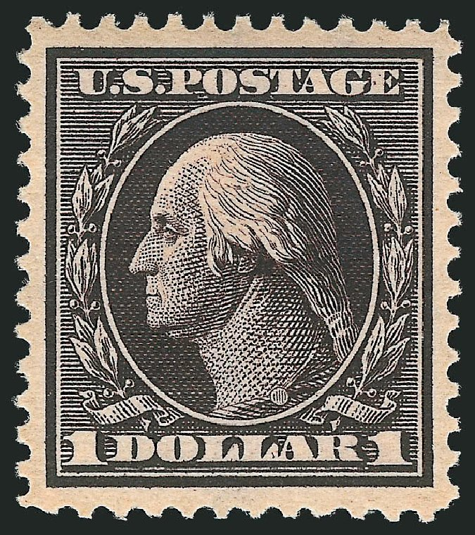 US Stamps Price Scott #342: 1909 US$1.00 Washington. Robert Siegel Auction Galleries, Apr 2015, Sale 1096, Lot 576