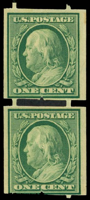 US Stamp Value Scott Cat. 343 - 1908 1c Franklin Imperf. Daniel Kelleher Auctions, Sep 2014, Sale 655, Lot 408