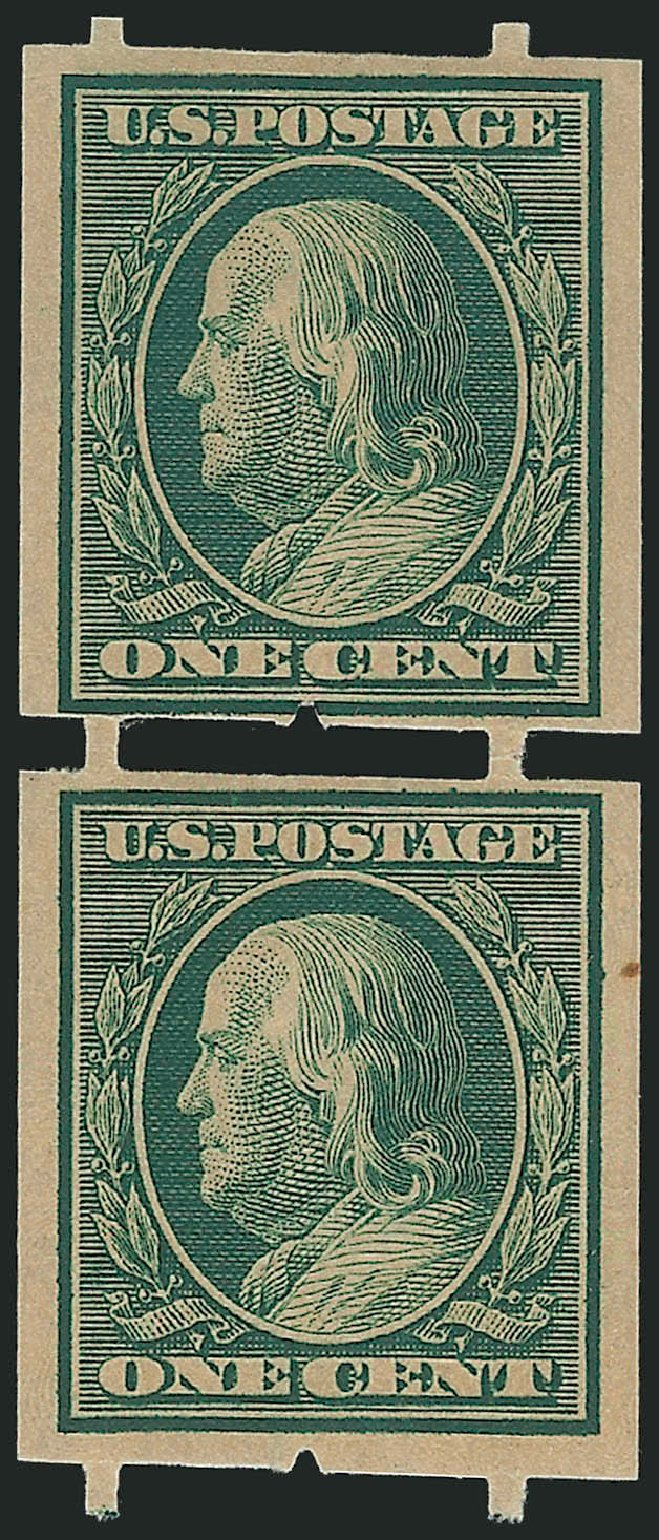US Stamps Prices Scott Catalog 343 - 1908 1c Franklin Imperf. Robert Siegel Auction Galleries, Nov 2013, Sale 1061, Lot 4239