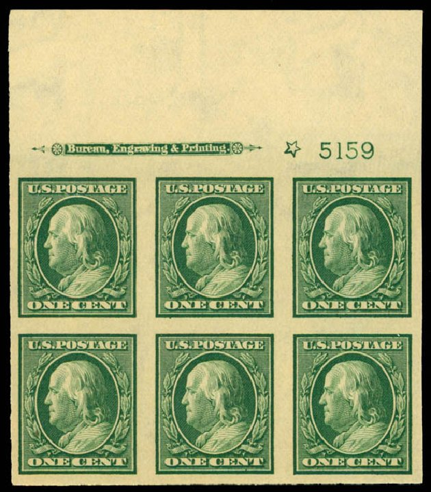 Prices of US Stamps Scott Catalogue 343 - 1908 1c Franklin Imperf. Daniel Kelleher Auctions, Mar 2013, Sale 635, Lot 454