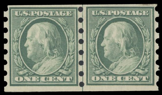 Values of US Stamp Scott Cat. # 343 - 1c 1908 Franklin Imperf. Daniel Kelleher Auctions, Aug 2015, Sale 672, Lot 2654